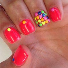 Neon dot studs nail art design