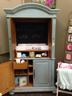 TV Armoire Transformed Into A Baby Changing Station