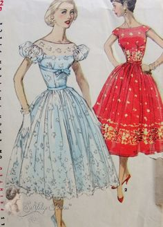 1950s Beautiful Evening Party Dress Pattern Fitted Midriff Empire Bodice Full Skirted Dress 2 Figure Flattering Style Versions Simplicity 1...