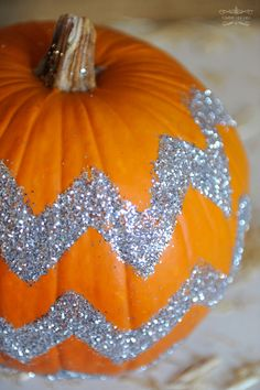 glitter a pumpkin ~ chevron