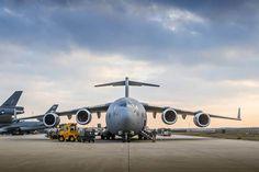 Het C-17-transporttoestel op Eindhoven. Foto: Ministerie van Defensie