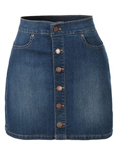 This denim a-line button down mini skirt pockets is what every women should own this season. Front button down closure add a handy, modern twist to this denim skirt. Crafted from a soft cotton materia A Line Mini Skirt, Denim Mini Skirt, Mini Skirts, Jean Skirt, Casual Skirt Outfits, Cute Outfits, Girls Fashion Clothes, Fashion Outfits, Denim Look