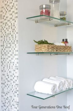 Bathroom Glass Shelves – an Elegant Multiple-Purpose Choice DIY bathroom renovation {reveal Glass Shelves In Bathroom, Floating Shelves Bathroom, Shower Shelves, Bathroom Storage, Small Bathroom, Towel Storage, Bathroom Closet, Closet Shelves, Pinterest Bathroom