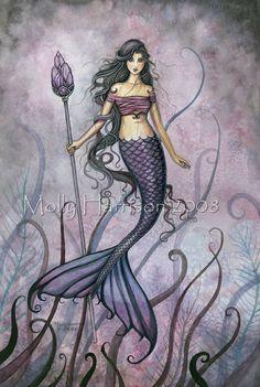 Mermaid Art by Molly Harrison - Amethyst Sea Fantasy Kunst, Fantasy Art, Mermaid Cross Stitch, Mermaid Artwork, Mermaid Prints, Pelo Anime, Mermaid Pictures, Mermaid Tale, Mermaids And Mermen
