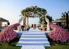 So summery: 11 mandap designs, perfect for scorching summer/ beach weddings! - india news & updates on eventfaqs Desi Wedding Decor, Wedding Stage Design, Wedding Hall Decorations, Wedding Entrance, Marriage Decoration, Entrance Decor, Entrance Ideas, Dubai Wedding, Wedding Mandap