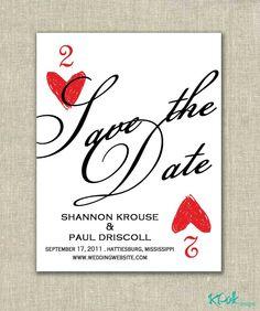 Viva las vegas - save the date postcard. Vegas Themed Wedding, Las Vegas Weddings, Casino Wedding, Themed Weddings, Wedding Save The Dates, Our Wedding, Wedding Ideas, Wedding Stuff, Paris Wedding