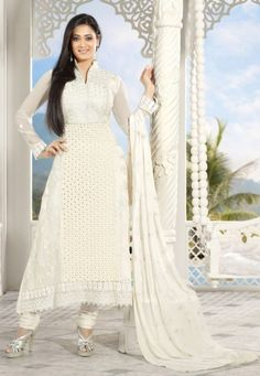 Gorgeous Off White faux georgette kameez with embroidery work, stone, crochet lace and patch border. It's teamed with matching shantoon churidar and chiffon dupatta.