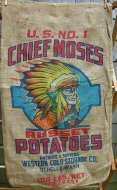 Indian Chief Burlap Potato Sack. $14.99, via Etsy.