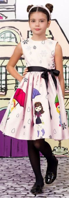 SALE !!! LOVE MADE LOVE Girls Designer Pink Snowflakes Dress. Super cute dress for girls that perfect for a special occasion or holiday event.  Love the pretty in pink design with fun print of girls skating and holding umbrellas to protect them from the sparkling snowflakes and rain. Now on Sale!  #kidsfashion #fashionkids #girlsdresses #childrensclothing #girlsclothes #girlsclothing #girlsfashion #cute #girl #kids #fashion