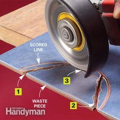 How to Cut Tile With a Grinder. Score and rough cut. Read more: http://www.familyhandyman.com/tiling/tile-installation/how-to-cut-tile-with-a-grinder/view-all