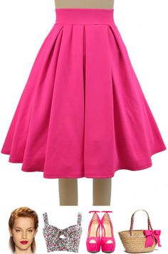 """Brand new in store at Le Bomb Shop! Meet the """"Pretty In Pleats Full Pinup Midi Skirt!"""" available in 5 colors, Only $30 with FREE U.S. s/h, Sizes small- large. Buy yours here at Le Bomb Shop: http://lebombshop.net/search?type=product&q=pretty+in+pleats+full+midi+pinup+skirt&search-button.x=0&search-button.y=0"""
