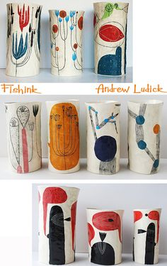 Andrew Ludick Colourful Ceramics-great inspiration for paper mach' art