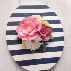 Nursery decor, felt flowers, felt flower decor, striped decor, navy and white stripes, baby girl nursery
