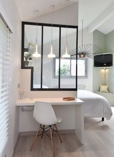 If you don't have a lot of space or a dedicated room for your home office, this is a brilliant and very stylish compromise.
