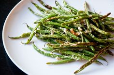 Oven Roasted Green Beans with Garlic & Parmesan by rootandblossom