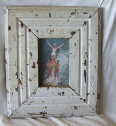 "Old Recycled Wood Picture Frame 4"" x 6"" *See our Videos* White Shabby #FragmentFreaks #ShabbyChic"