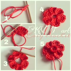 """The difference is in the details"": Easy crochet: Flowers bows Size 1 - mm hook Begin with a magic circle [ Chain work 6 tr, ch sl st into the ring] Repeat sequence in [ ] to form 6 petals. Pull yarn tail to tighten the loop, end off. weave in ends. Crochet Diy, Crochet Simple, Crochet Motifs, Crochet Flower Patterns, Love Crochet, Crochet Crafts, Crochet Projects, Knitting Patterns, Easy Crochet Flower"