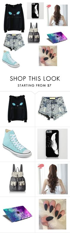 """Pastel Goth Outfit"" by addisonmckinney on Polyvore featuring WithChic, Converse, T-shirt & Jeans and Pin Show"