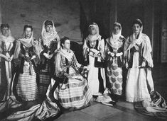 """""""On the Trail of a Greek Bourgeoisie Clad in Traditional Garb"""" - Queen Olga, surrounded by Ladies-in-Waiting at the Royal Court, ca. Court Dresses, Royal Dresses, Greek Traditional Dress, Greek Dress, Greek Royalty, Greek Royal Family, Grand Duchess Olga, Princess Sophia, Lady In Waiting"""