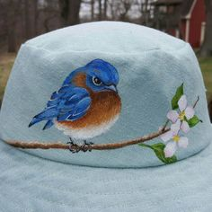 Items similar to Summer Sun Hat Painted Hats, Hand Painted, Bird Stand, Hat Embroidery, Fancy Hats, Hat Shop, Wide-brim Hat, Love Hat, Japanese Style