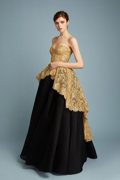 Astonishing Baroque Inspired Gold Lace Hi-Lo Top with a Black Ball Skirt  | Fashion Friday: Reem Acra Pre-Fall 2017 Collection | http://brideandbreakfast.ph/2017/01/13/reem-acra-pre-fall-2017/