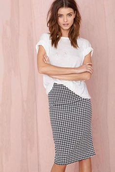 $48, Black and White Houndstooth Pencil Skirt: Nasty Gal Hound Out Midi Skirt. Sold by Nasty Gal. Click for more info: https://lookastic.com/women/shop_items/89208/redirect