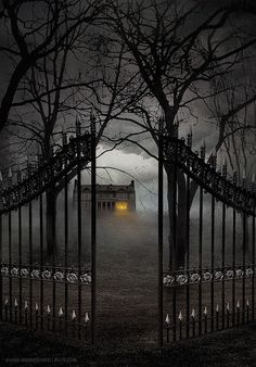Gate Entry, The Enchanted Wood photo via sandie .I left the gate open, c'mon over! Spooky Places, Haunted Places, Abandoned Places, Haunted Houses, Creepy Houses, Spooky House, Enchanted Wood, Dark Places, Dark Fantasy