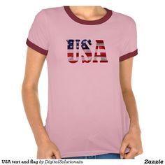 USA text and flag T Shirt