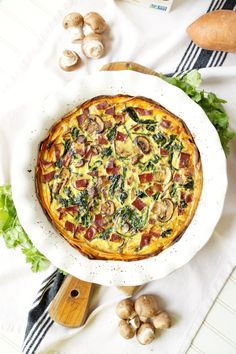 spinach, bacon, and mushroom sweet potato crust quiche | The Baking Fairy
