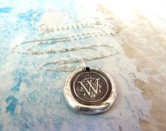 Soooo pretty! Fine Silver Wax Seal Monogram Initial Necklace.. Any Letter Made to Order.. Wax Seal Stamped Jewelry. $52.00, via Etsy.