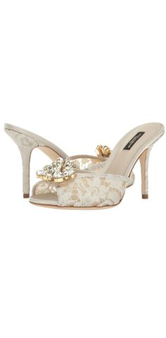 Live your dreams.  Enter a lovely life of romance adorned in the beautiful bliss of this #DolceandGabbana #Lace #Jeweled Rainbow Lace #Slide.  #footwear #shoes #sandals