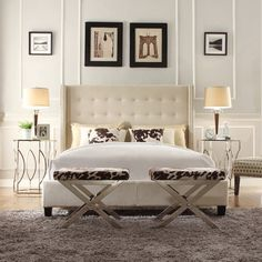 INSPIRE Q Marion Beige Linen Nailhead Wingback Tufted Upholstered Bed | Overstock.com Shopping - The Best Deals on Beds