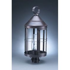 Northeast Lantern Heal Chimney Cone Top 1 Light Lantern Head Finish: Raw Brass, Shade Type: Clear