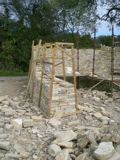 SY9881 : Building a dry stone wall, Dorset, 2009 (1)
