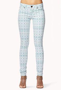 Patterned skinny jeans