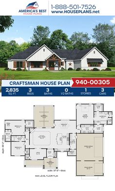 An awesome Craftsman home design, Plan 940-00305 details 2,835 sq. ft., 3 bedrooms, 3 bathrooms, split bedrooms, a break fast nook, an open floor plan, a home office, a mudroom, and a sitting room. #craftsman #architecture #houseplans #housedesign #homedesign #homedesigns #architecturalplans #newconstruction #floorplans #dreamhome #dreamhouseplans #abhouseplans #besthouseplans #newhome #newhouse #homesweethome #buildingahome #buildahome #residentialplans #residentialhome Craftsman Style Homes, Craftsman House Plans, Best House Plans, Dream House Plans, Floor Plan Drawing, Stair Detail, Construction Cost, House Stairs, Build Your Dream Home