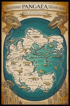 Pangaea map, by Richard Morden. The map of Pangaea, featuring the ancient continents of Gondwana and Laurasia, is available as poster art Sheldon The Tiny Dinosaur, Dinosaur Dinosaur, Map Globe, Fantasy Map, Prehistoric Animals, Old Maps, Vintage Maps, Antique Maps, Historical Maps