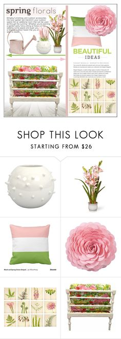 """""""Spring Florals: Home"""" by pat912 ❤ liked on Polyvore featuring interior, interiors, interior design, home, home decor, interior decorating, National Tree Company, Saro, Home and polyvoreeditorial"""