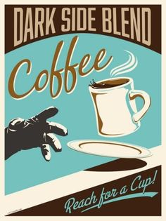 """Dark Side Blend by Steve Thomas. Steve Thomas' immensely popular (and sold out) Star Wars """"vintage ad"""" series is now available as part of our Gem canvas collection! Star Wars Poster, Star Wars Kunst, Cocina Star Wars, Star Wars Kitchen, Steve Thomas, Pub Vintage, Vintage Theme, Vintage Travel, Star Wars Prints"""