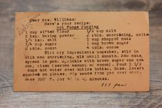 recipe for hot fudge pudding cake- a self saucing cake popular in the post-war 40s.