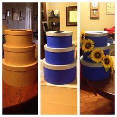 DIY card box for wedding. Royal blue, gray, and yellow wedding colors!
