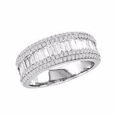 1 Carat D/VVS1 Double Edge Wedding Band In 18K White Gold by JewelryHub on Opensky