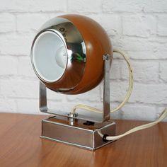Mid Century Modern Eyeball Swivel Lamp // Hamilton Industries Model H-6 Camel Brown and Chrome // Retro Atomic Office Decor For Him