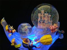 Disney Castle Snowglobe Lites Up 2 Globes 12 Disney Characters Music Retired New | eBay