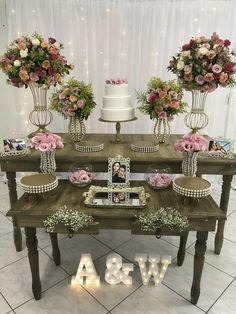 Top 14 Must See Rustic Wedding Ideas ---Wooden table wedding food bar with blush floral decorations with led letters, country weddings in barn/farmhouse venues. 50th Wedding Anniversary Decorations, Engagement Decorations, Birthday Decorations, Wedding Decorations, Floral Decorations, Wedding Table, Rustic Wedding, Civil Wedding, Wedding Pinterest