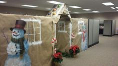 Gingerbread houses. Village. Christmas cubicle decorating idea.