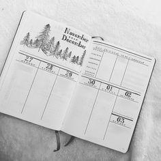Bullet journal weekly layout, tree drawings, forest drawings, weekly task list, meal tracker. @morningside.studio
