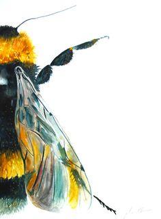 Aquarell Gemälde originale Kunst Bumble Bee groß 11 von WoodPigeon