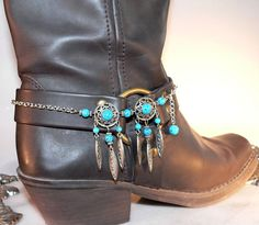 Turquoise Blue Boot Bracelet Cowboy Bling by SunriseBeadedJewelry, $45.00