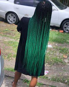 Ombre Green Box Braids # jumbo box Braids with accessories 70 Box Braids Hairstyles That Turn Heads Ombre Box Braids, Black Box Braids, Colored Box Braids, Box Braids Hairstyles For Black Women, Blonde Box Braids, Short Box Braids, Black Girl Braids, Braids For Black Women, Ombre Hair